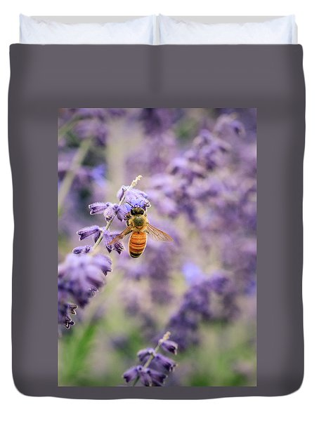 The Honey Bee And The Lavender Duvet Cover