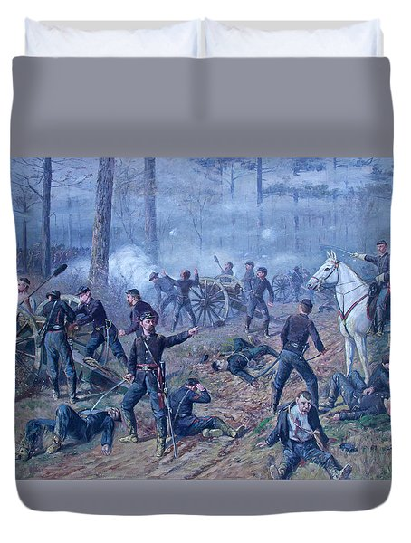 Duvet Cover featuring the painting The Hornets' Nest by Thomas Corwin Lindsay