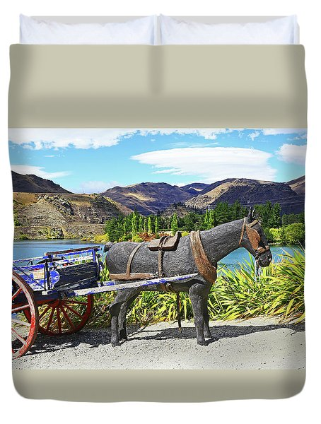 Duvet Cover featuring the photograph The Horse At Old Cromwell by Nareeta Martin