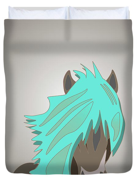 The Horse With The Turquoise Mane Duvet Cover