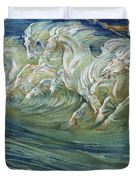 The Horses Of Neptune Duvet Cover