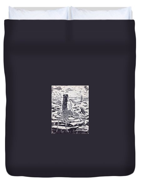 Duvet Cover featuring the painting The Horseshoe by Stan Tenney