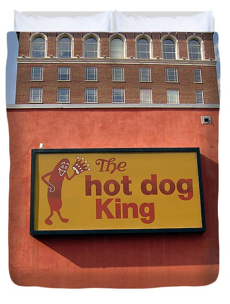 The Hot Dog King Duvet Cover