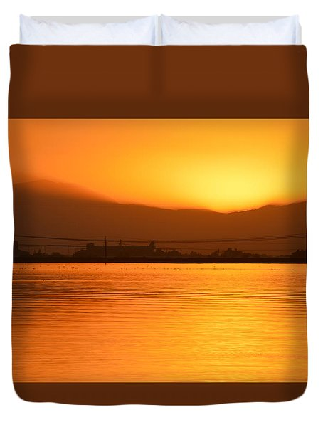 Duvet Cover featuring the photograph The Hour Is Golden by AJ  Schibig
