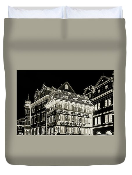Duvet Cover featuring the photograph The House At The Minute With Graffiti. Black by Jenny Rainbow