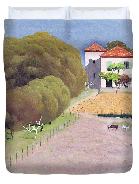 The House With The Red Roof Duvet Cover by Felix Edouard Vallotton