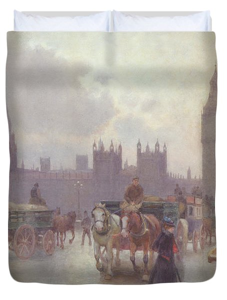 The Houses Of Parliament From Westminster Bridge Duvet Cover by Alberto Pisa