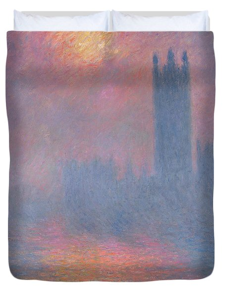 The Houses Of Parliament London Duvet Cover by Claude Monet