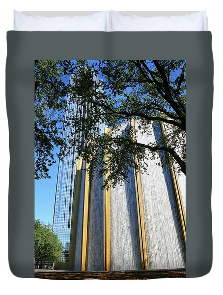 The Houston Water Wall And Williams Tower Duvet Cover