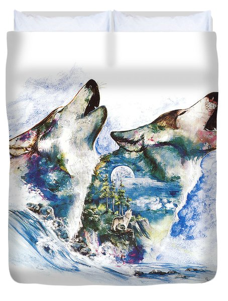 Duvet Cover featuring the painting The Howl by Sherry Shipley