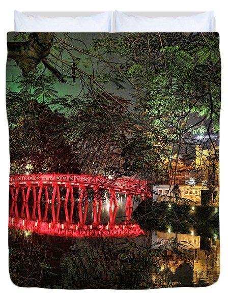 The Huc Bridge Night Hanoi Duvet Cover