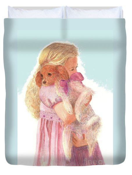 Duvet Cover featuring the painting The Hug by Nancy Lee Moran