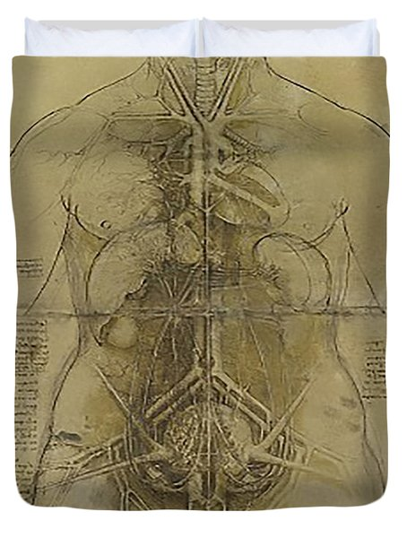 Duvet Cover featuring the painting The Human Organ System by James Christopher Hill