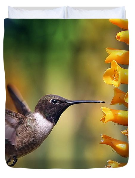 The Hummingbird And The Bee Duvet Cover