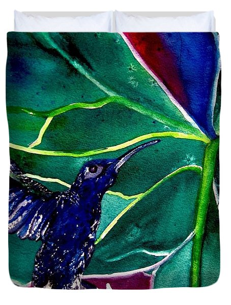 The Hummingbird And The Trillium Duvet Cover by Lil Taylor
