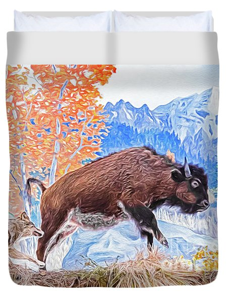 Duvet Cover featuring the digital art The Hunt by Ray Shiu