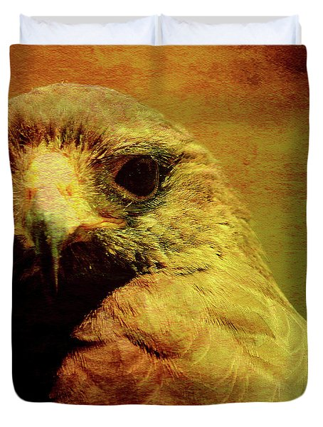 The Hunter . Portrait Of A Hawk . Square . 40d7877 Duvet Cover by Wingsdomain Art and Photography