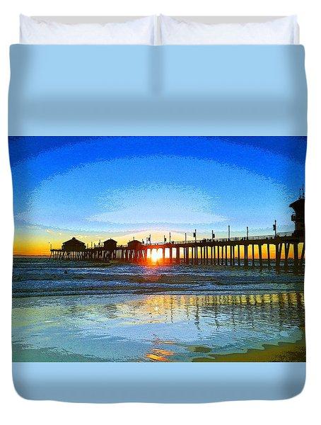 The Huntington Beach Pier Duvet Cover