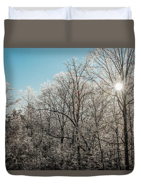 Duvet Cover featuring the photograph The Ice Storm by Penny Lisowski