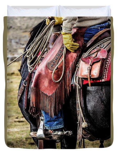The Idaho Cowboy Western Art By Kaylyn Franks Duvet Cover