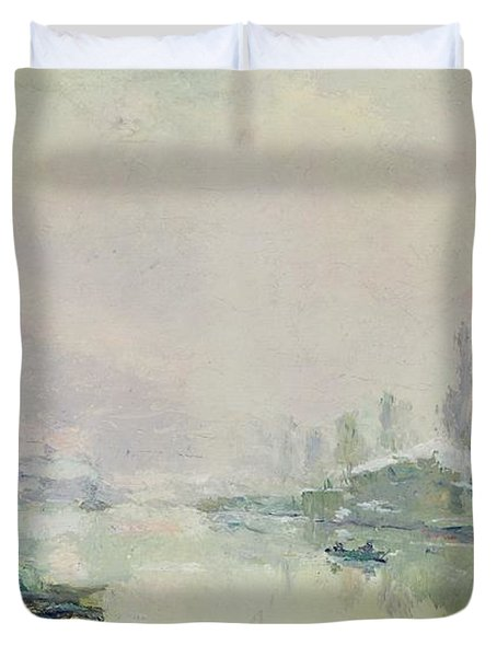 The Ile Lacroix Under Snow Duvet Cover by Albert Charles Lebourg