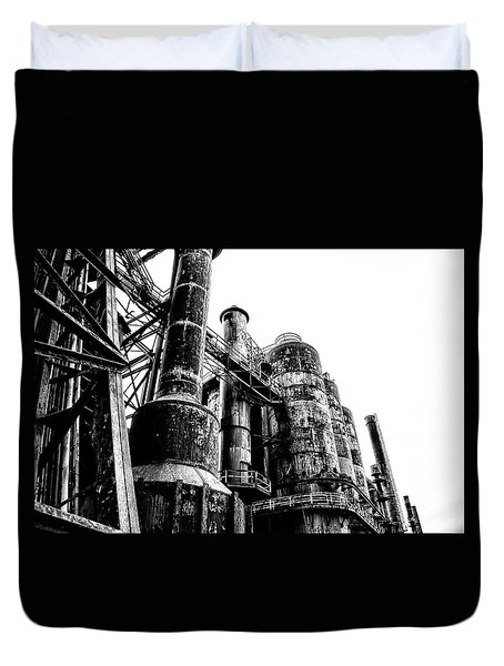 The Industrial Age At Bethlehem Steel In Black And White Duvet Cover by Bill Cannon