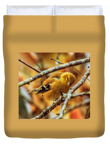 The Inquisitive Goldfinch Duvet Cover
