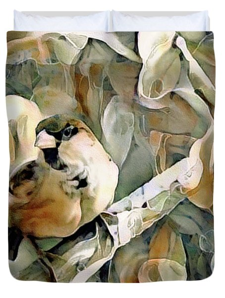 The Inquisitive Sparrow Duvet Cover