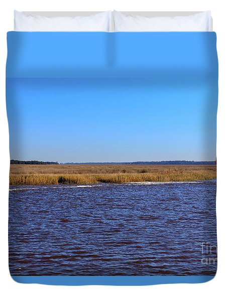 The Intracoastal Waterway In The Georgia Low Country In Winter Duvet Cover by Louise Heusinkveld