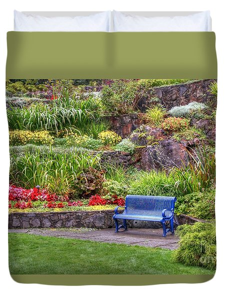 Duvet Cover featuring the photograph The Inviting Blue Bench by Myrna Bradshaw