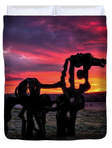 The Iron Horse Sun Up Art Duvet Cover