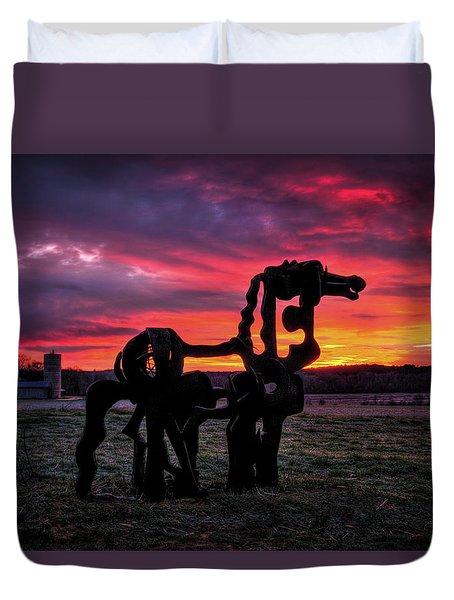 The Iron Horse Sun Up Duvet Cover by Reid Callaway
