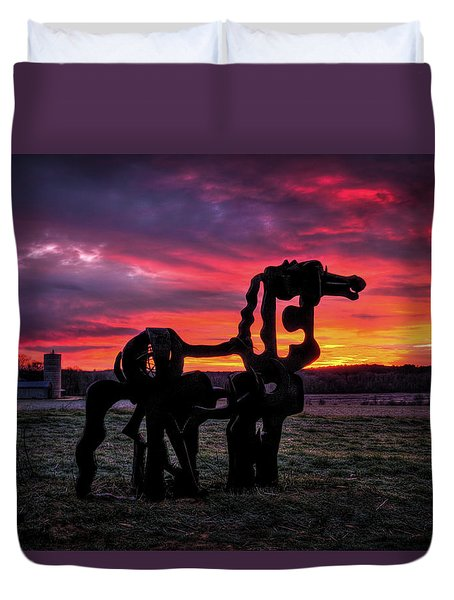 The Iron Horse Sun Up Art Duvet Cover