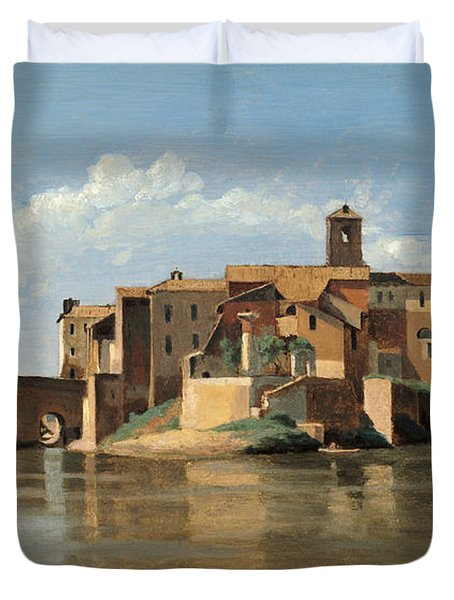 The Island And Bridge Of San Bartolomeo Duvet Cover