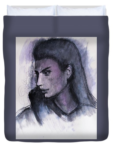 Duvet Cover featuring the drawing The Islander by Jarko Aka Lui Grande