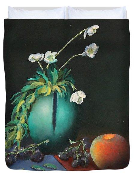 The Jade Vase And Jasmine Duvet Cover