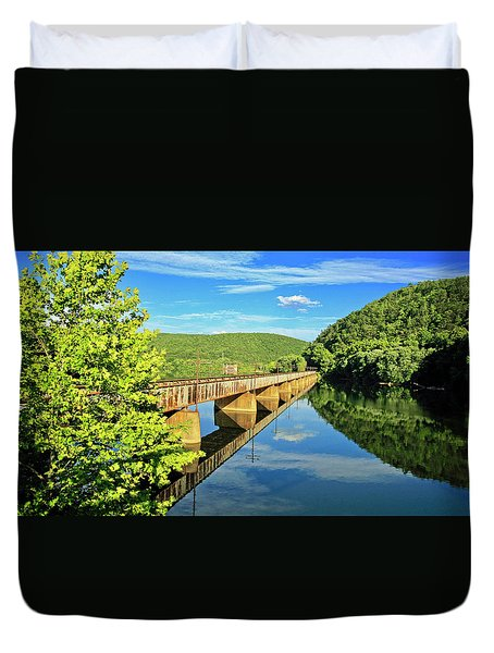The James River Trestle Bridge, Va Duvet Cover