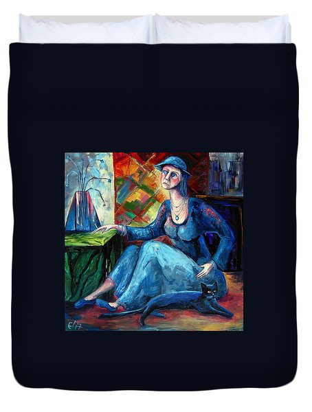 The Jeans Girl. 20 Years Later Duvet Cover by Elisheva Nesis