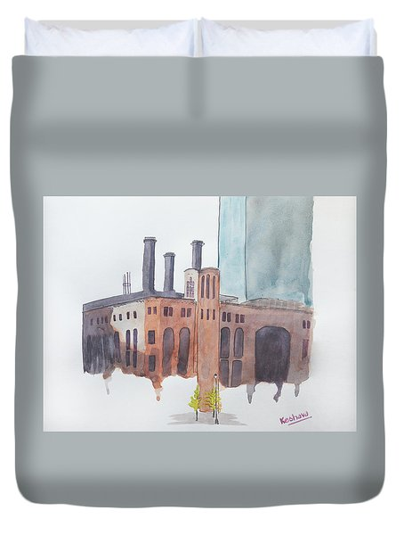 The Jersey City Powerhouse Duvet Cover by Keshava Shukla