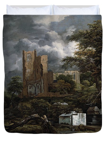The Jewish Cemetery Duvet Cover by Jacob Isaaksz Ruisdael