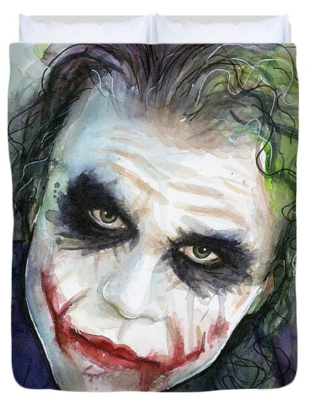 The Joker Watercolor Duvet Cover by Olga Shvartsur