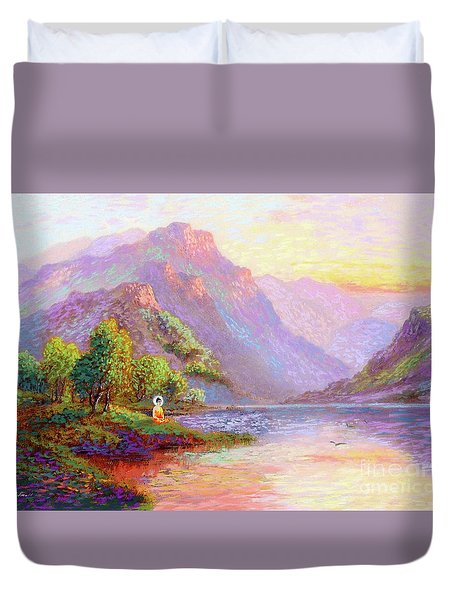 The Joy Of Being Buddha Meditation Duvet Cover