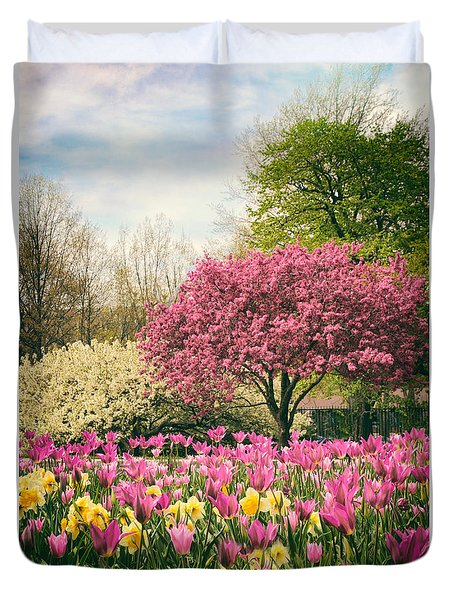 Duvet Cover featuring the photograph The Joy Of Tulips by Jessica Jenney