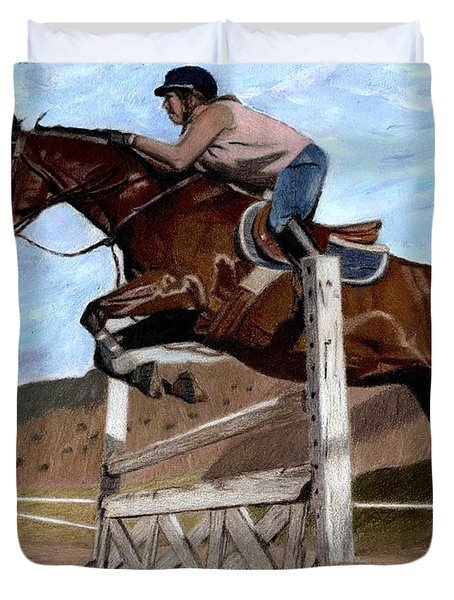 The Jumper - Horse And Rider Painting Duvet Cover