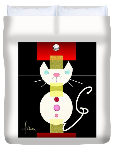 Duvet Cover featuring the mixed media The Junk Drawer Cat by Larry Talley