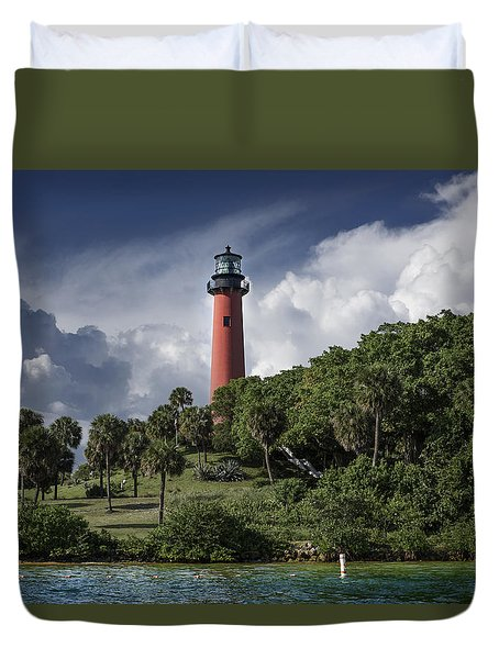 The Jupiter Inlet Lighthouse Duvet Cover by Laura Fasulo