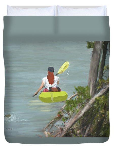 The Kayaker Duvet Cover by Rosalie Scanlon