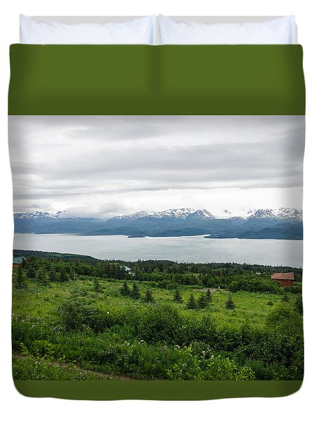 The Kenai Mountains In Homer Duvet Cover