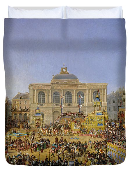 The Kermesse At Saint-omer In 1846 Duvet Cover by Auguste Jacques Regnier
