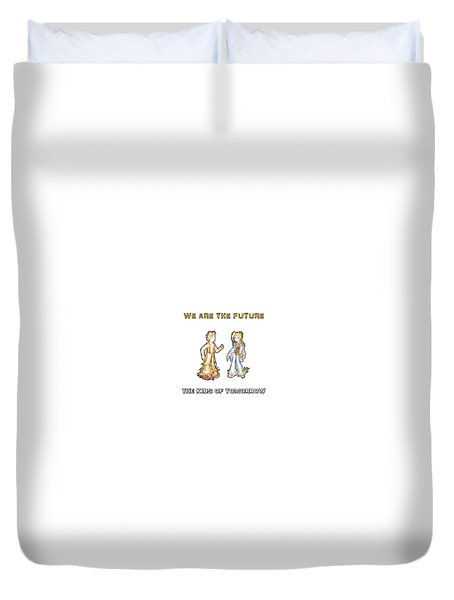 Duvet Cover featuring the digital art The Kids Of Tomorrow Corie And Albert by Shawn Dall
